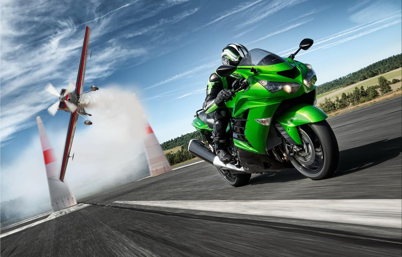 Photo wallpaper road, speed, racer, kawasaki, zx14