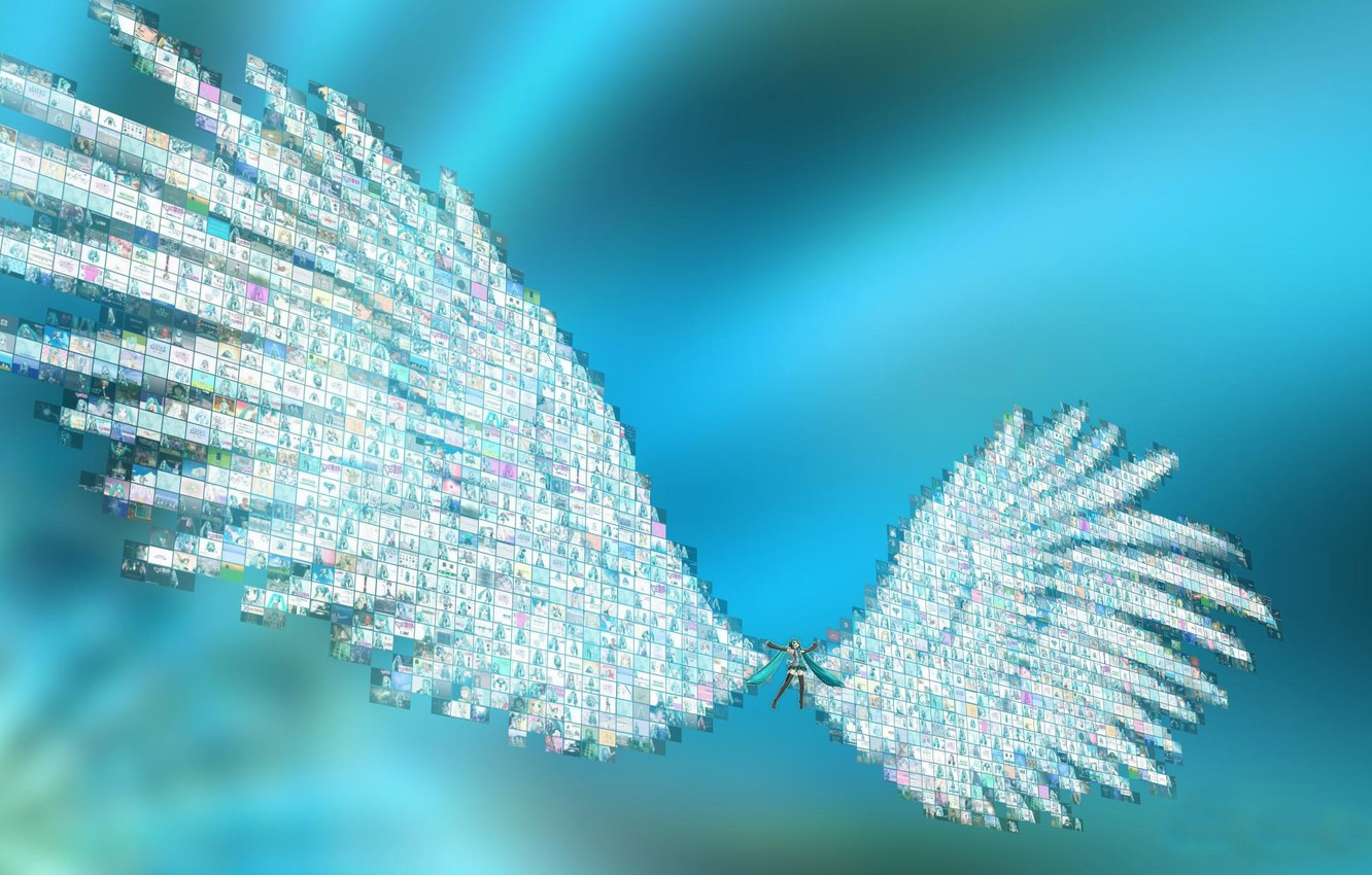Photo wallpaper girl, Anime, Vocaloid, wings.