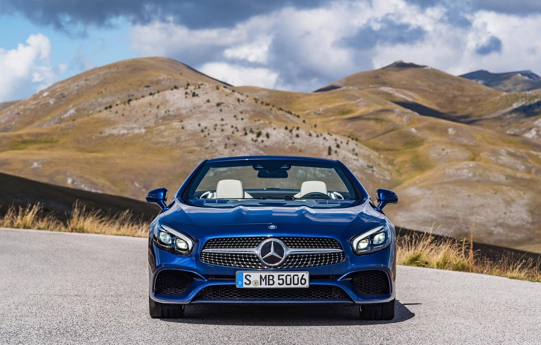 Photo wallpaper mountains, blue, nature, Mercedes-Benz, AMG, SL500