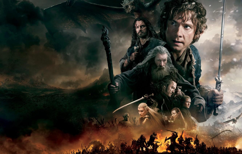 Photo wallpaper fire, dragon, smoke, sword, fantasy, elves, dwarves, battle, Evangeline Lilly, the hobbit, orcs, Orlando Bloom, …