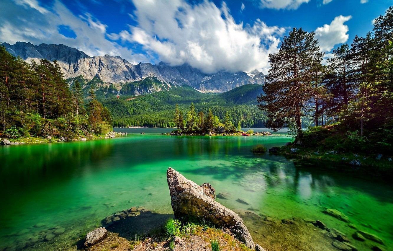 Photo wallpaper forest, mountains, nature, lake
