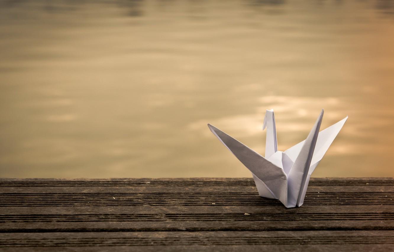 Photo wallpaper paper, background, origami, crane