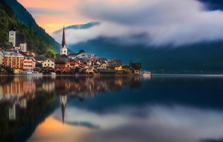 Photo wallpaper reflection, the city, lake, town
