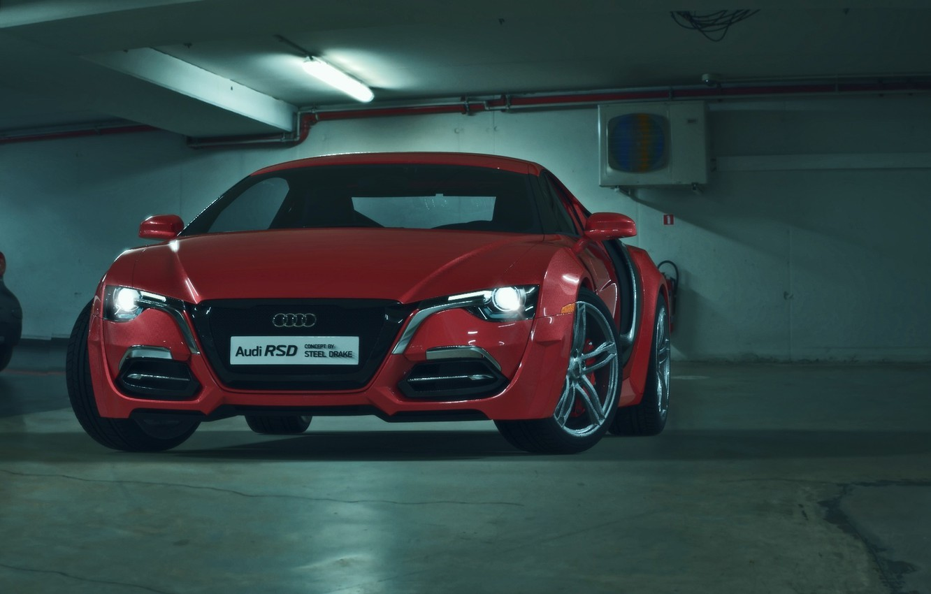 Photo wallpaper Concept, Audi, Red, Car, Auto, Front, Parking, Ligth, RSD