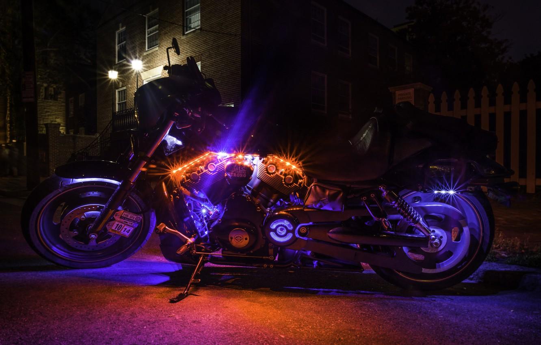 Photo wallpaper style, backlight, motorcycle, bike, Harley-Davidson