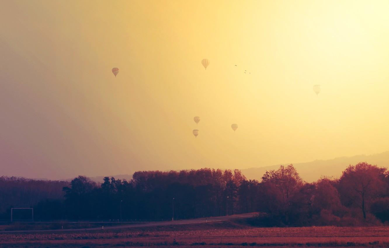 Photo wallpaper road, the sky, balls