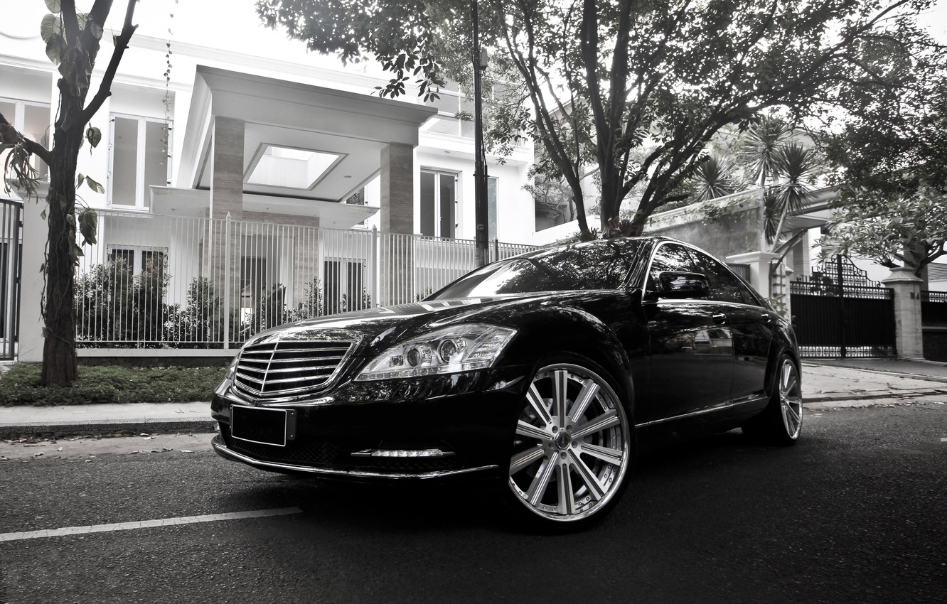 Photo wallpaper Mercedes-Benz, Auto, The fence, Trees, House, Tuning, Machine, Villa, Drives