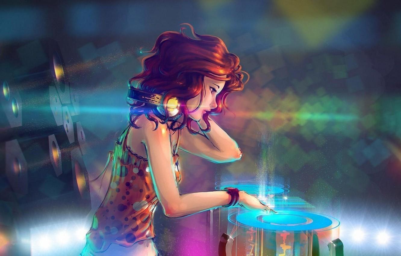 Photo wallpaper music, girl, red hair, headphones, art
