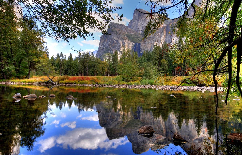 Photo wallpaper water, branches, lake, stones, mountain