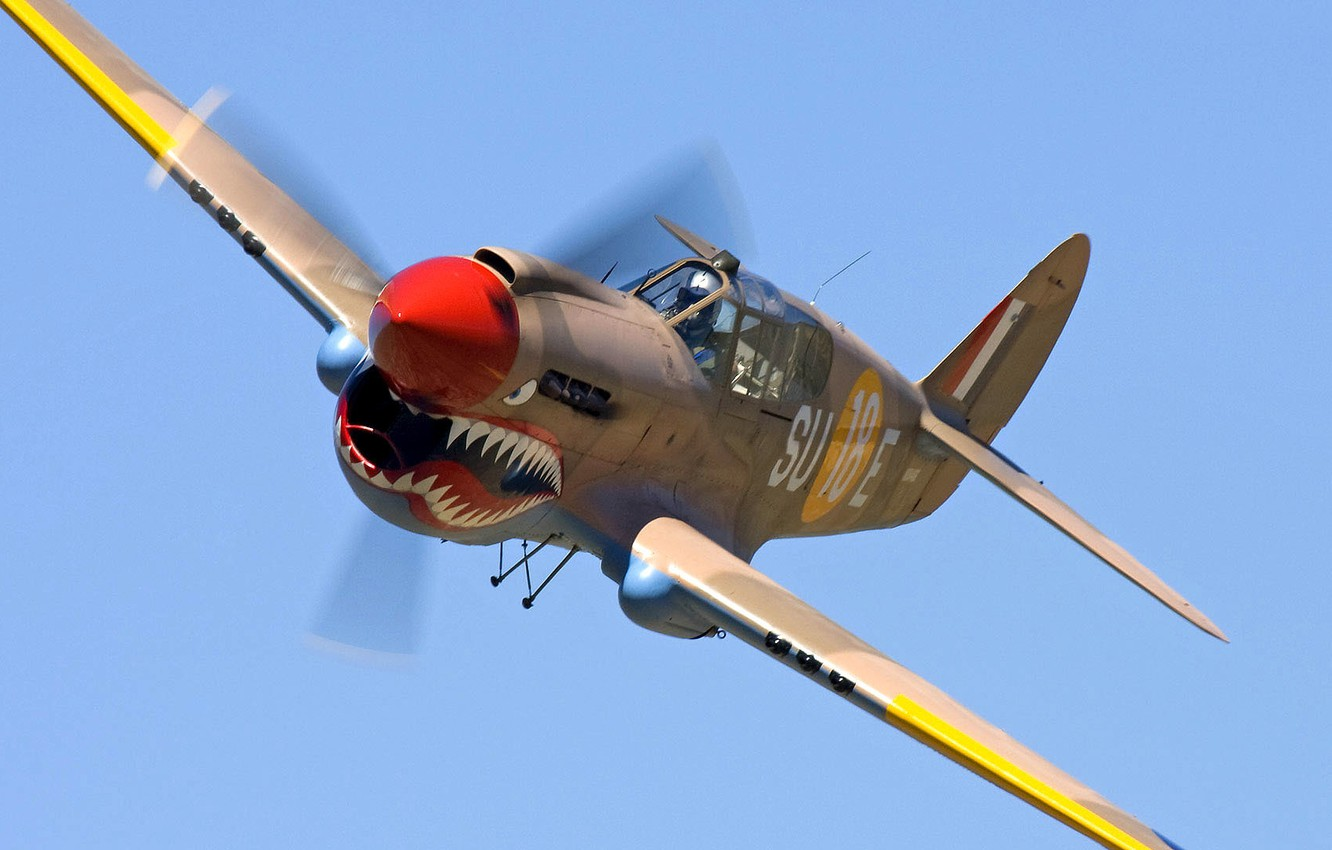 Photo wallpaper the sky, flight, the plane, color, shark, teeth, fighter, mouth, propeller, airbrushing