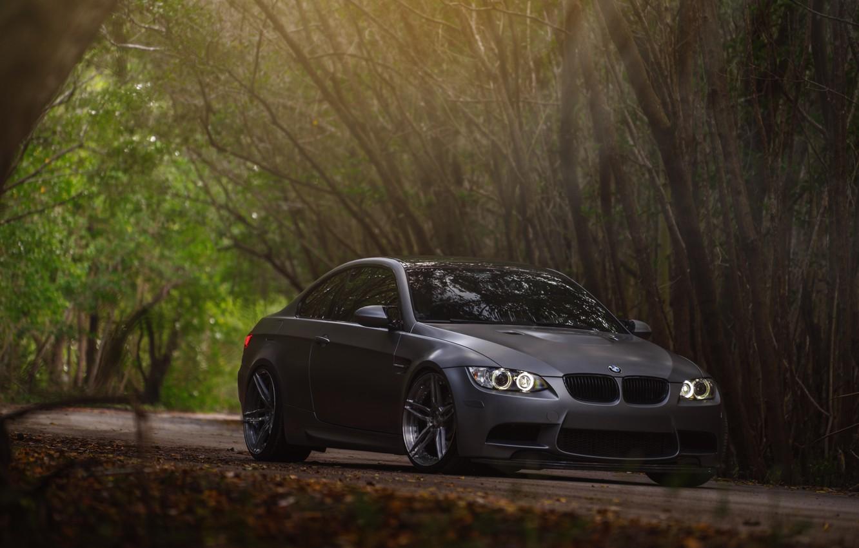 Photo wallpaper car, BMW, BMW, forest, E92, Sedan
