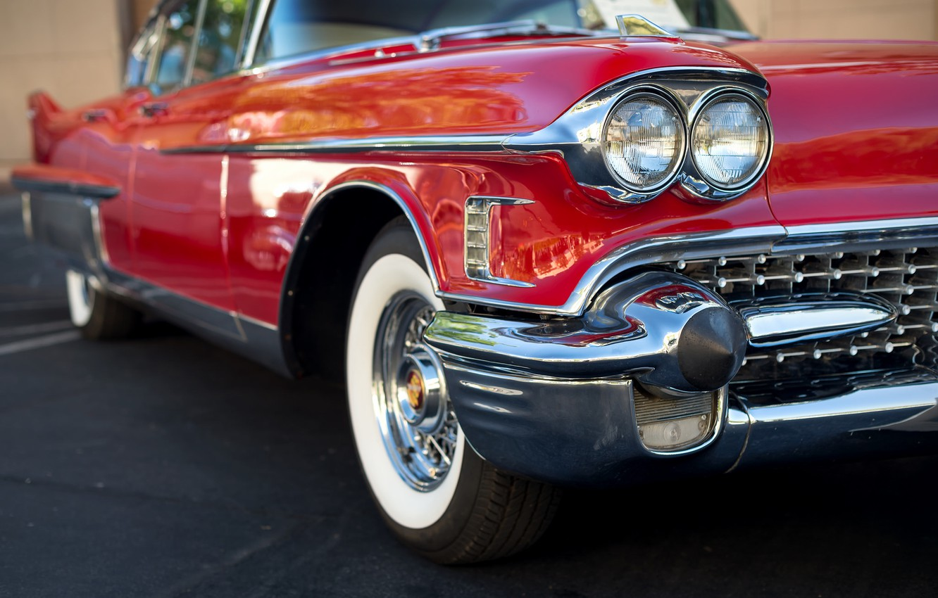 Photo wallpaper machine, red, car, 1958, Cadillac Fleetwood 60 Special