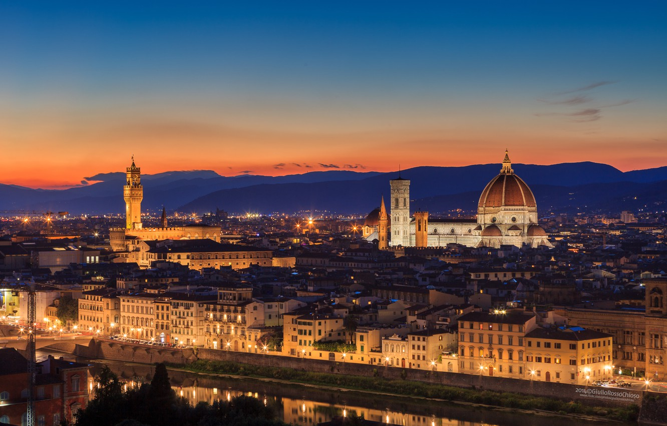 Photo wallpaper the sky, sunset, orange, the city, the evening, lighting, Italy, Cathedral, Florence, architecture, Italy, Tuscany, …