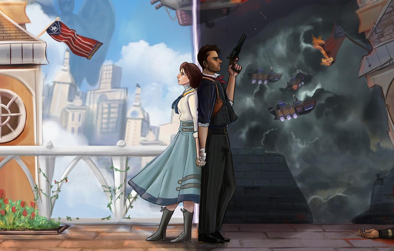 Photo wallpaper art, Elizabeth, Irrational Games, BioShock Infinite, 2K Australia, Booker