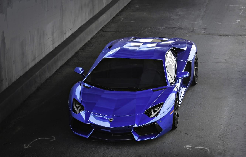 Photo wallpaper blue, lamborghini, blue, the view from the top, aventador, lp700-4, Lamborghini, aventador