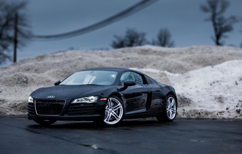 Photo wallpaper rain, Audi, rain, tilt shift, roadster, Audi R8
