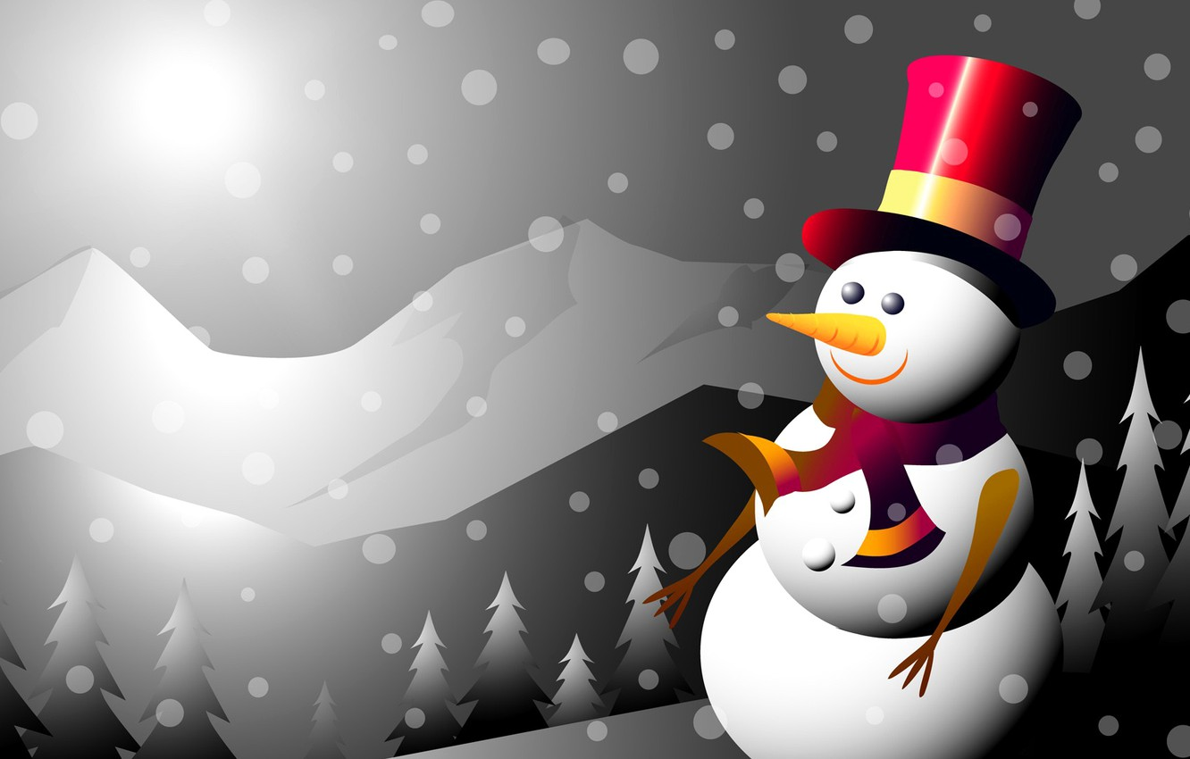 Photo wallpaper winter, mountains, collage, new year, Christmas, vector, snowman, postcard