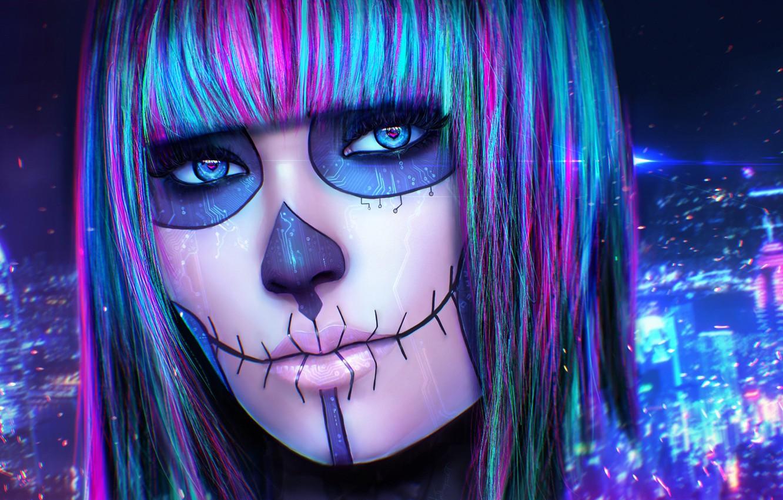 Photo wallpaper eyes, look, girl, face, skull, makeup, art, cyberpunk, Synesthesia