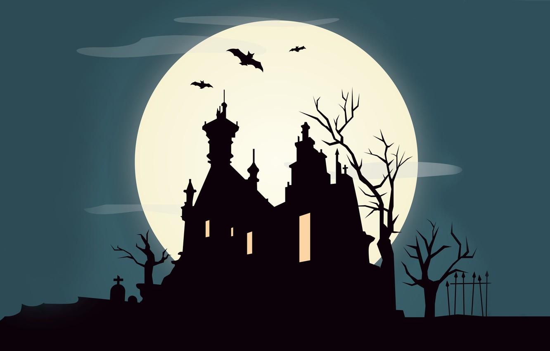 Photo wallpaper trees, castle, vector, October, bat, horror, horror, vector, trees, bat, castle, creepy, creepy, full moon, …