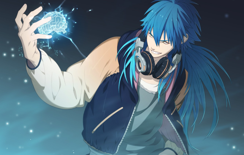 Photo wallpaper anime, headphones, brain, guy, blue hair, DRAMAtical Murder