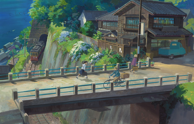 Wallpaper Sea Summer Bridge People Rails Train Home Village