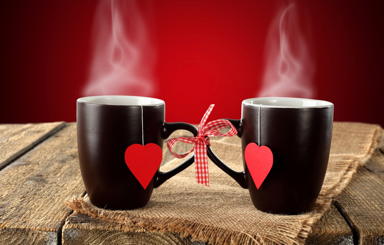 Photo wallpaper background, couples, Cup, hearts, bow, black