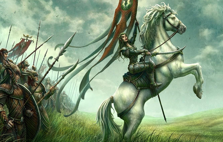 Photo wallpaper field, horse, figure, rider, fantasy, elf, kerem couplets, army