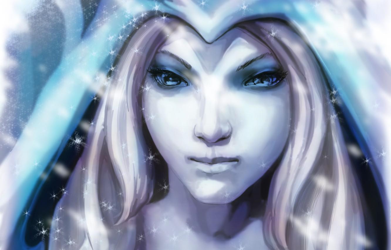 Wallpaper Girl Snowflakes Art Blonde Crystal Maiden Dota 2