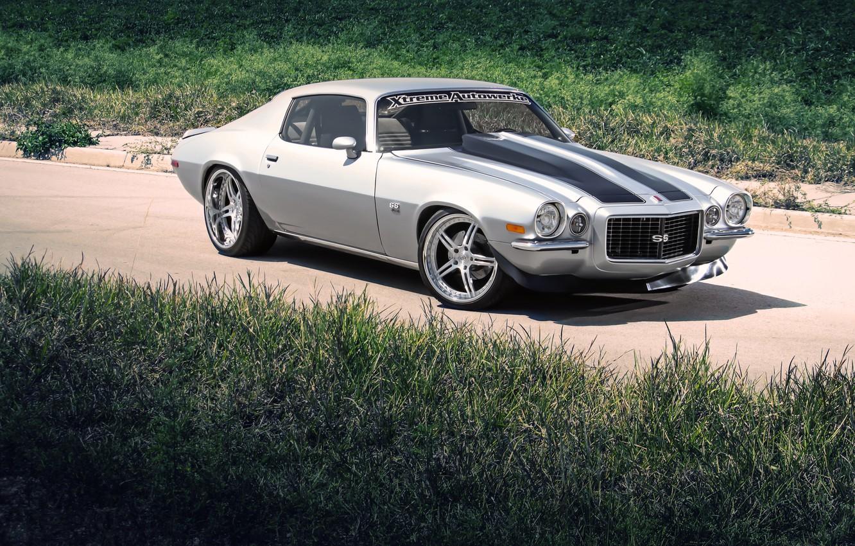 Photo wallpaper grass, Chevrolet, silver, Camaro, Chevrolet, Camaro, silvery, 434