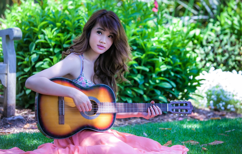 Photo wallpaper girl, music, guitar, Asian