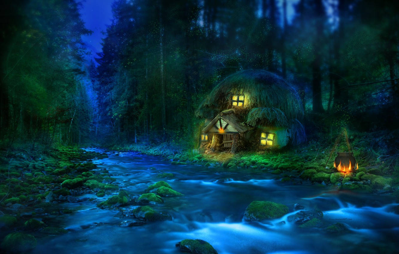 Photo wallpaper forest, river, house, ear