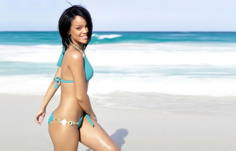 Photo wallpaper beach, swimsuit, girl, shore, rihanna, Rihanna