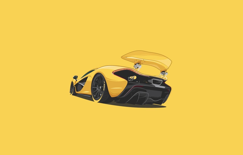 Photo wallpaper McLaren, Yellow, Supercar, Rear, Minimalistic