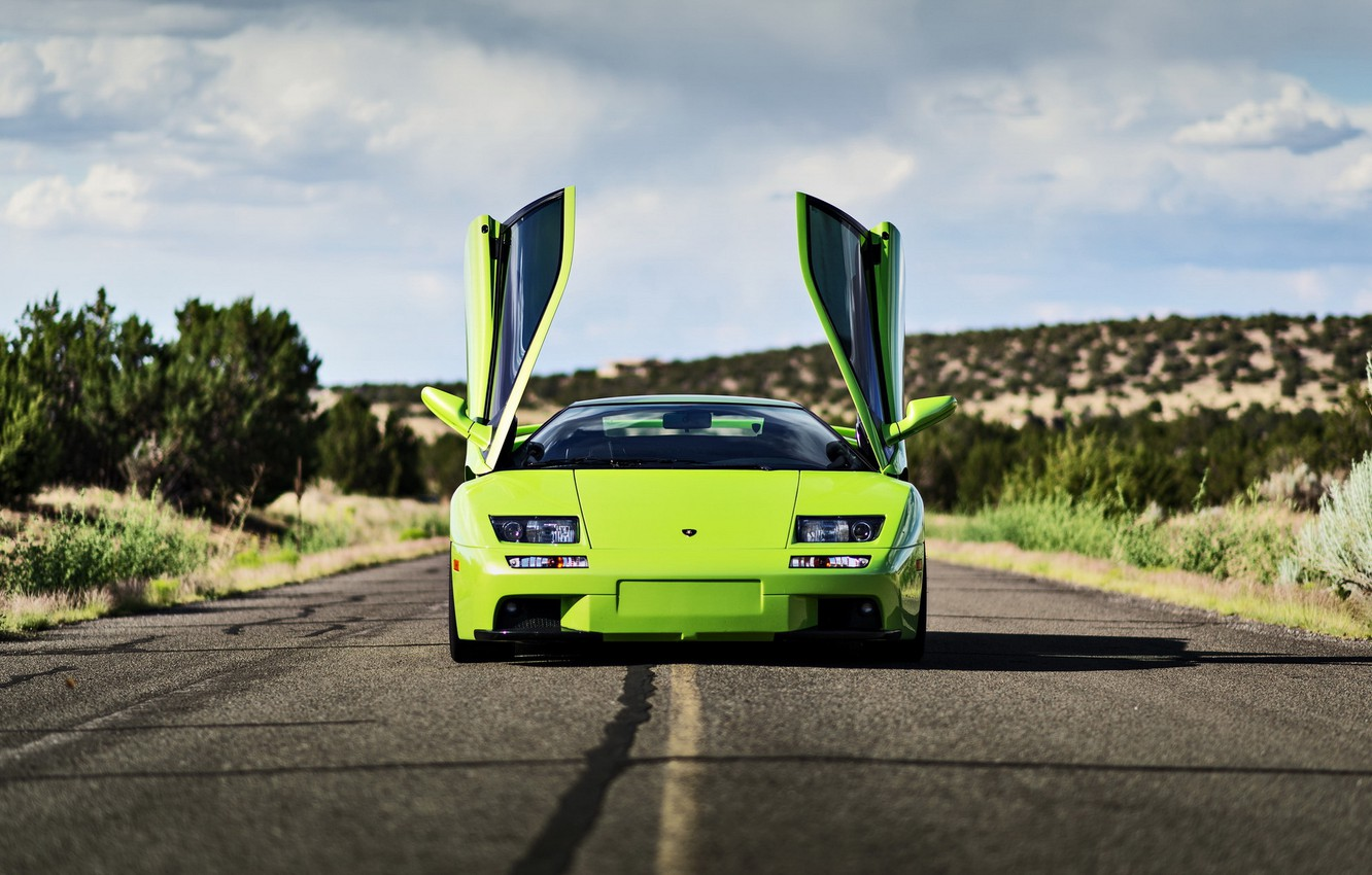 Photo wallpaper road, lamborghini, supercar, diablo, rechange, lunchbox photoworks