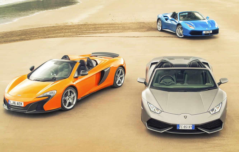 Photo wallpaper sand, auto, trail, McLaren, Lamborghini, Ferrari, Ferrari, Blue, GTB, grey, Spyder, supercars, orange, Lamborghini, McLaren, …