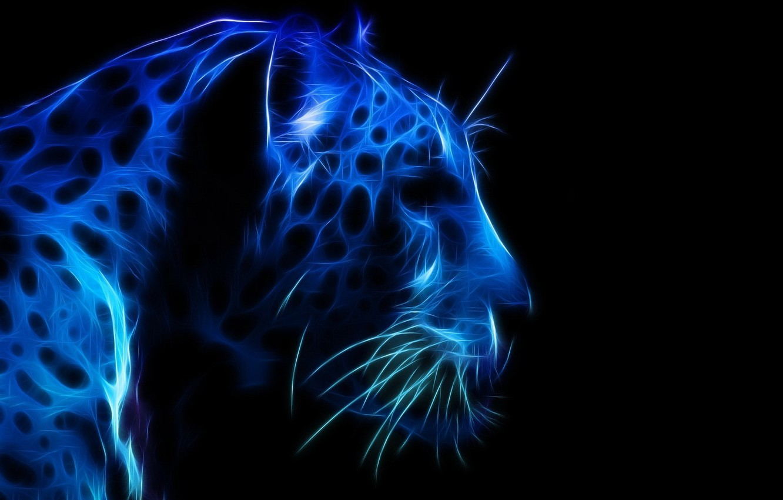 Photo wallpaper face, leopard, profile, blue color, the dark background, 3D graphics