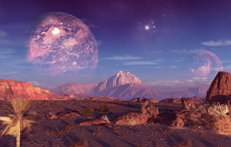 Photo wallpaper the sky, mountains, rocks, planet, terraspace