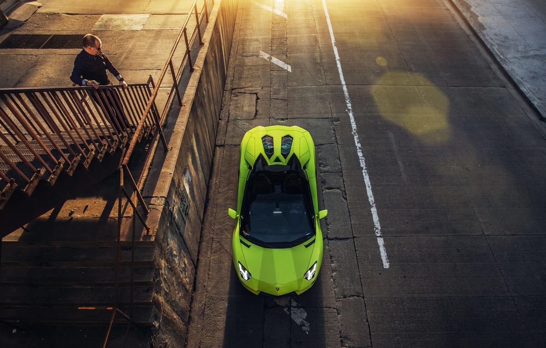 Photo wallpaper Roadster, Lamborghini, Green, Aventador, JeremyCliff Photography