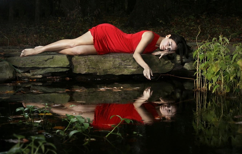 Photo wallpaper girl, lake, mood