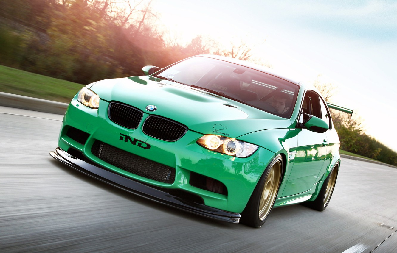 Photo wallpaper car, green, green, Wallpaper, lights, tuning, bmw, BMW, car, 2011, tuning, coupe, monster, rides, e92, …