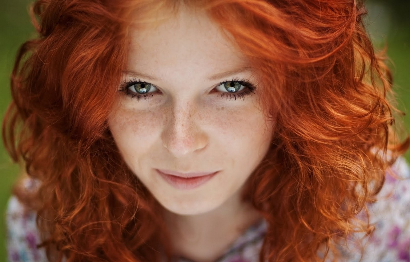 Photo wallpaper look, girl, smile, hair, freckles, red