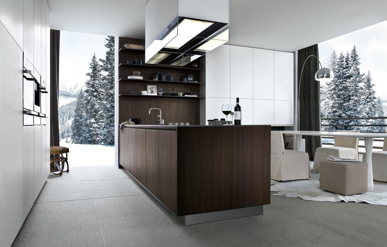 Photo wallpaper snow, design, furniture, tree, interior, kitchen