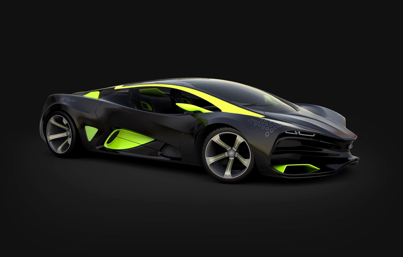 Photo wallpaper Concept, Green, The concept, Lights, Car, Car, Lada, Green, Lights, Lada, 2014, Raven, Equal