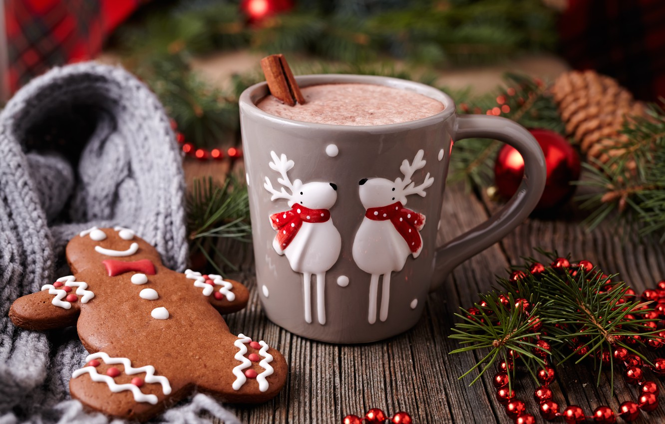 Photo wallpaper New Year, cookies, Christmas, Christmas, cakes, Xmas, glaze, cocoa, cookies, decoration, gingerbread, Merry