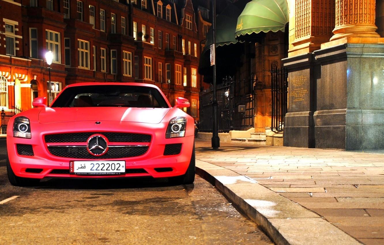 Photo wallpaper red, night, Mercedes benz, sls, amg, matte