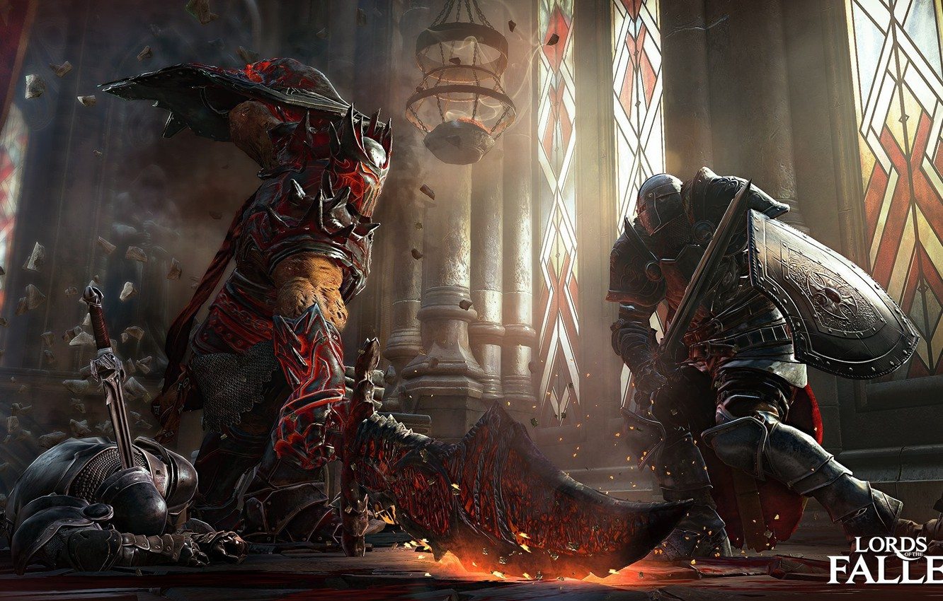 Photo wallpaper the wreckage, magic, sword, shield, knight, Games, Lords of the fallen