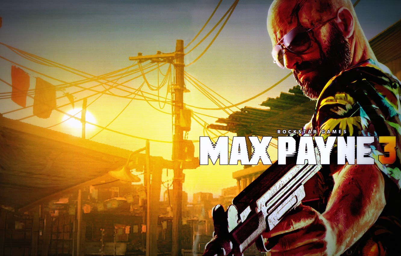 Wallpaper Blood Glasses Bald Weapons Uzi Max Payne 3
