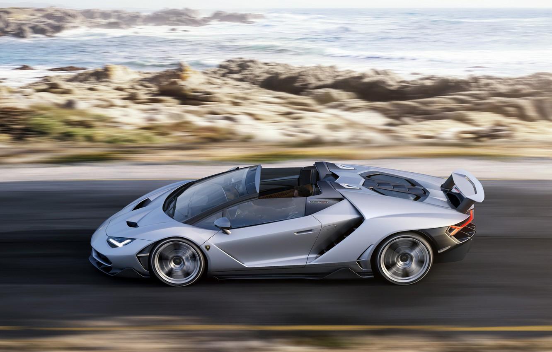Photo wallpaper road, car, auto, coast, Roadster, Lamborghini, supercar, speed, Centennial