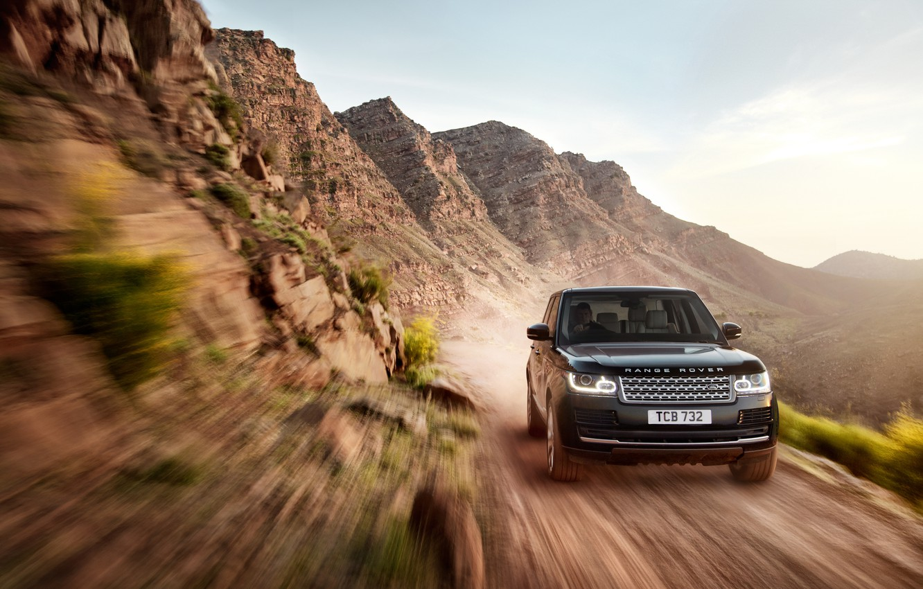 Photo wallpaper machine, the sky, earth, SUV, Land Rover, Range Rover, in motion