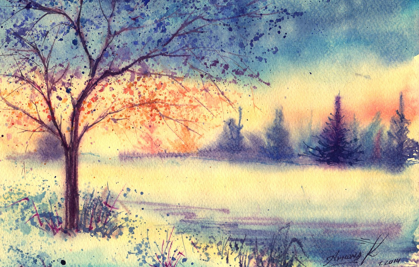 Photo wallpaper winter, grass, tree, morning, watercolor, tree, painted landscape